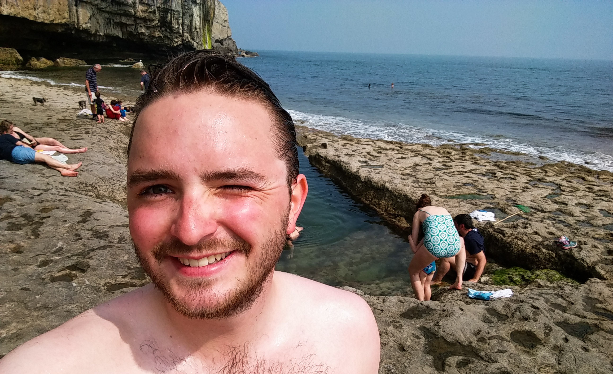 Post-swim selfie #2, this time at Dancing Ledge.