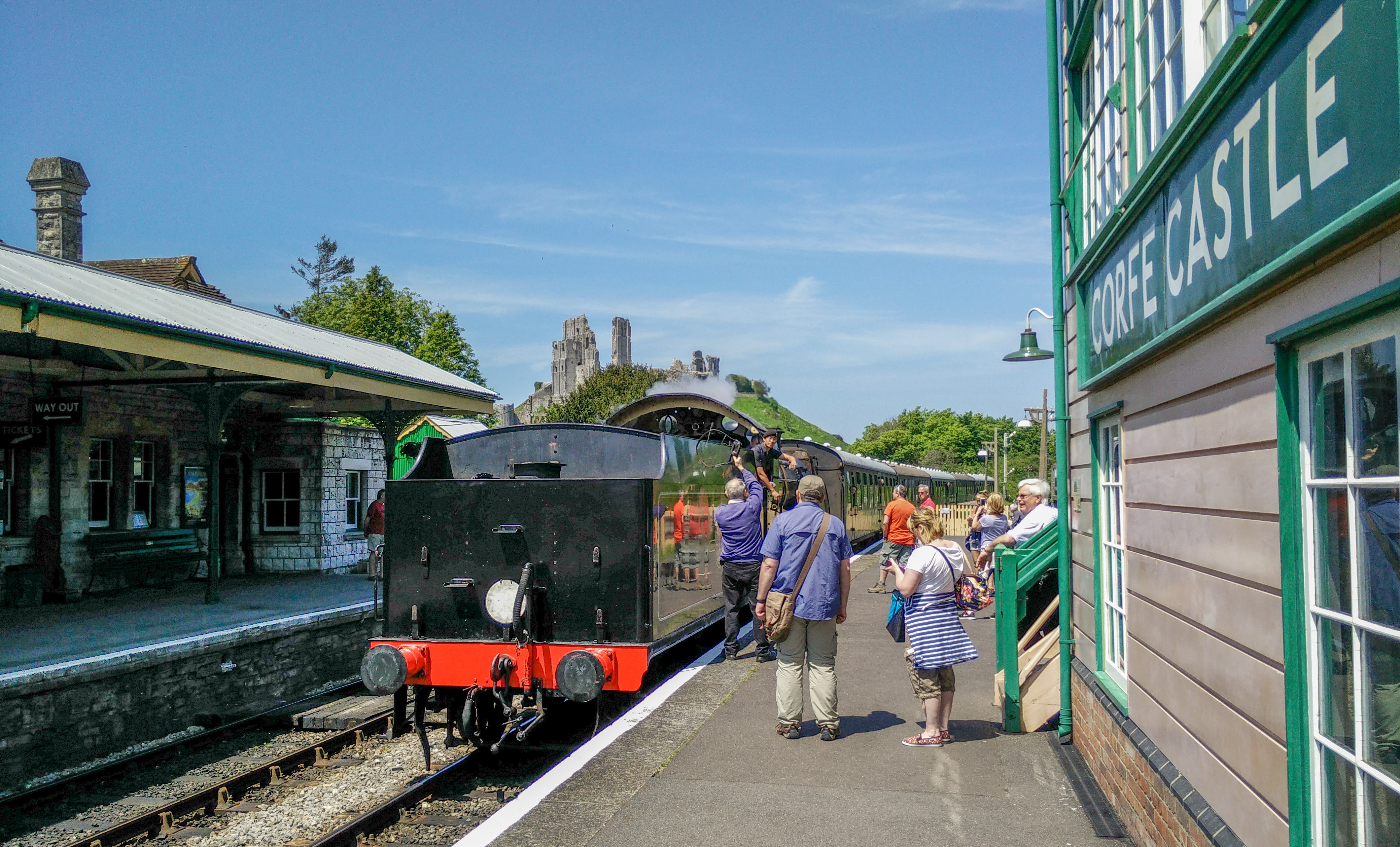 Corfe Castle station and my train.